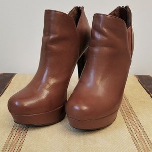Material Girl Shoes - MATERIAL GIRL Brown Platform Heeled Ankle Boots
